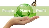 people planet profit afbeelding: een groene planeet op een hand