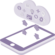 de cursus van extraas uitgebeeld met een tablet en een cloud vol kennis.