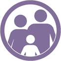 icon van twee ouders met een kind.